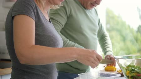 discutir : Happy aged family couple cooking healthy lunch in apartment kithcen. Senior woman putting salad to glass bowl and mature man cutting yellow pepper on board. People smiling. Vídeos