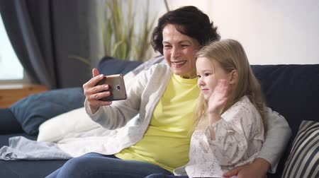 Retired woman and little granddaughter is talking with people by online conference. Cute girl is happy saying hi to family. New modern way of communication with digital technology laptop application on tablet.