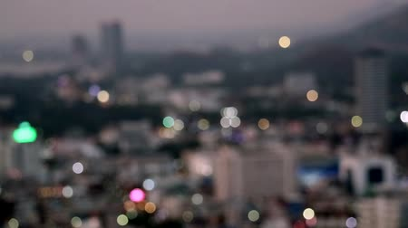 dividing : blur light of city and traffice light at rural in thailand Stock Footage