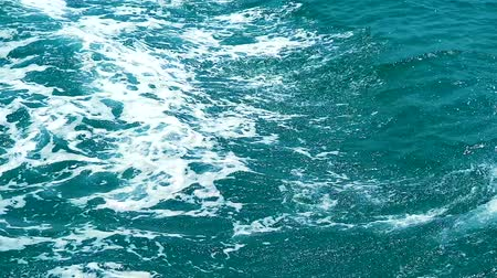 bright bubble : wave form drive boat on sea surface blue color of water Stock Footage