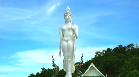 religia : pearl buddha stand on naga on top mountain flash by sunlight time lapse