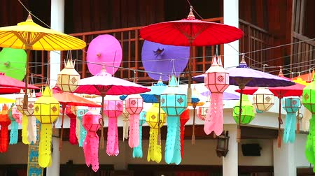 el sanatları : multi color lamps and umbrella in northern Thailand Hanging decoration outdoor
