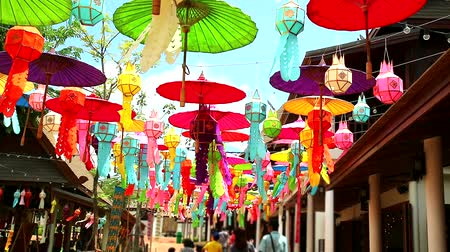 el sanatları : rainbow lamps and umbrellas in northern Thailand Hanging decoration outdoor Stok Video