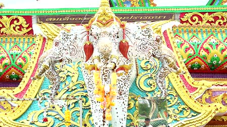kaew : Erawan elephant, three-headed elephant, vehicle of Indra at Khao Mai Kaew Temple Stock Footage