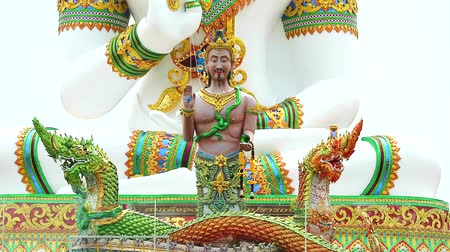 divinity : Srisuttho god of Naga and buddha background at Khao Mai Kaew Temple Stock Footage