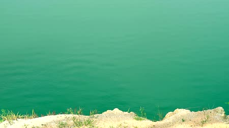 ot : green color wave by manganese on water surface in the lake Stok Video