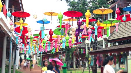 hand sign : Art lamps in northern Thailand Hanging outdoor decoration Stock Footage