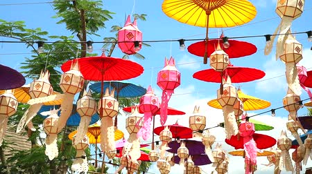 wat : lamps and umbrellas in northern Thailand Hanging decoration outdoor