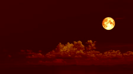 gerçeküstü : super blood moon move on night red sky and cloud rolling