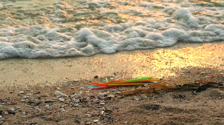 litter box : sunset on sea with  many straw are left on the beach and the waves blew them into the sea Stock Footage