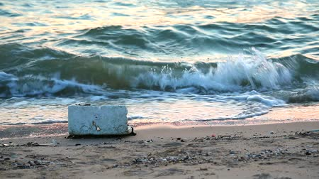 litter box : sunset on sea with foamand waste are left on the beach and the waves blew them into the sea1