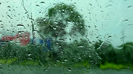 beside : view inside car, driver parking car beside road because rain drop heavy storm wind