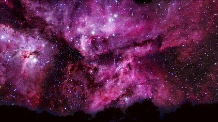 távcső : magenta color galaxy move pass top tree on night sky time lapse