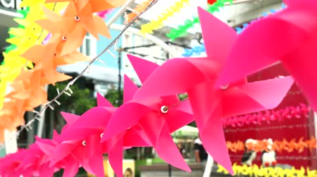 lapát : rainbow windmill toy is decorated at shopping mall to welcome summer