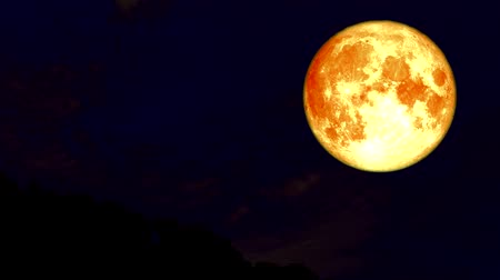 gerçeküstü : blood moon night sky and cloud moving time lapse Stok Video