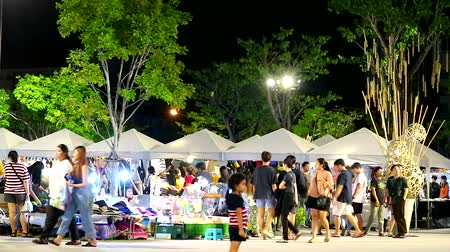 piactér : Chonburi Thailand - Sep 1 2019, people are shopping in night market in the weekend