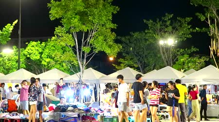 outdoor : blur of people are shopping in night market time lapse