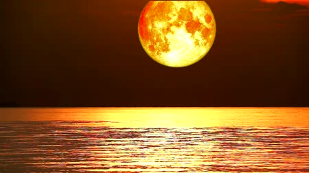 perigee : super full beaver blood moon move on night sky over wave on water in the sea,