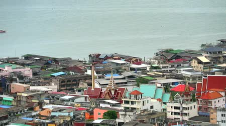 dividing : Chonburi Thailand, Sriracha city and Fishing village and bay aerial view