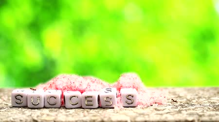 glicose : ants find huge of red sugar blur green background and success object text, concept focus to success in business and economy