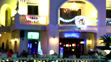 city resident : blur colorful rainbow bar and restaurant in the Pattaya beach road Stock Footage