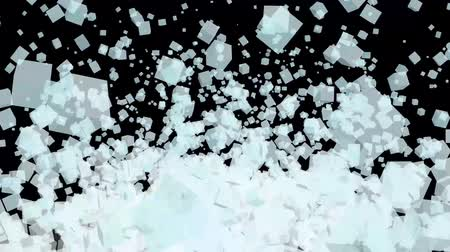 dimension : ice block flying in the air and black isolated background