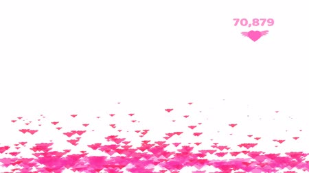 тон : Million pink tone hearts wing flying count and valentine text and copy space Стоковые видеозаписи