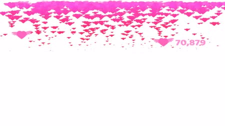 trouwen : pink hearts flying with count and valentine text and copy space Stockvideo