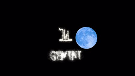 bak : gemini text saber effect and zodiac symbol is slowing appear and full moon Stock mozgókép