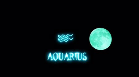 kanlı : aquarius text saber effect and zodiac symbol is slowing appear full moon