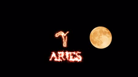 strzelec : aries text saber effect and zodiac symbol is slowing appear full moon