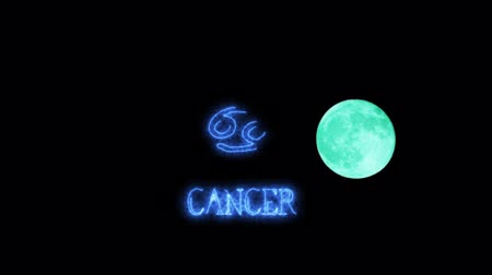 libra : cancer text saber effect and zodiac symbol is slowing appear full moon