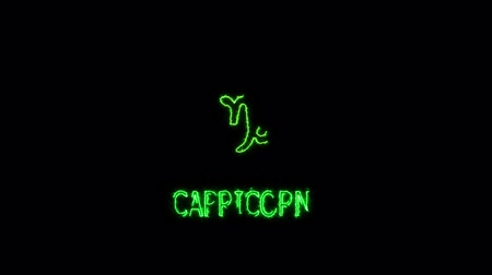 capricorntext saber effect and zodiac symbol is slowing appear full moon Wideo