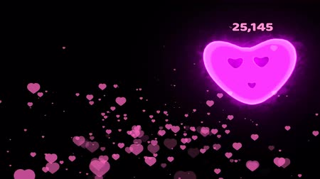 million hearts flying with count and smile heart growing by count numeric