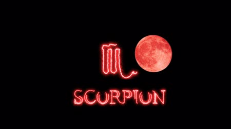 libra : scorpion text saber effect and zodiac symbol is slowing appear full moon