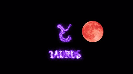 libra : taurus text and symbol and full moon Stock Footage