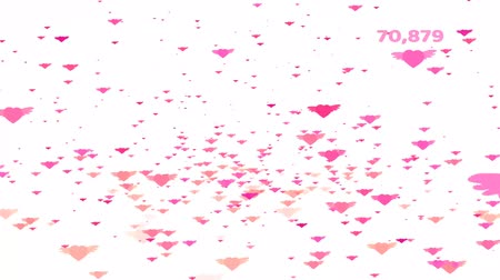 Million pink tone hearts wing flying and with count and valentine text Dostupné videozáznamy
