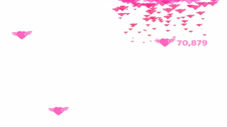 pink hearts flying with count and valentine text and copy space and heart falling Dostupné videozáznamy