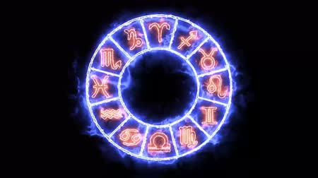 libra : Zodiac circle flame blink circle both appear and disappear and all 12 zodiac sign and name Stock Footage