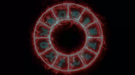 libra : Zodiac circle rotate blink circle both appear and disappear and all 12 zodiac sign and name Stock Footage