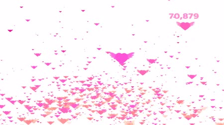 Million pink hearts wing flying and count and valentine text Dostupné videozáznamy