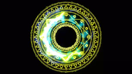 bak : 12 zodiac and dodecagon fire power overwhelming around powerful magic yellow Stock mozgókép