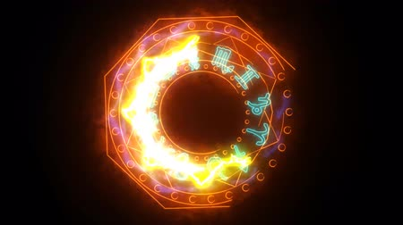 libra : 12 zodiac and Octagon fire power overwhelming around powerful magic orange