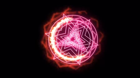 yarı saydam : dodecagon fire around powerful magic weapon pink power overwhelming Stok Video