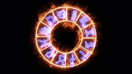 strzelec : Zodiac twelve and name text effect sign on the flame aura slow appear