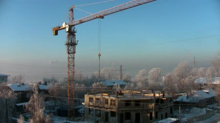 housing problems : Time-lapse construction on a frosty winters day Stock Footage
