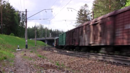 vasúti : Cargo train passes under the bridge