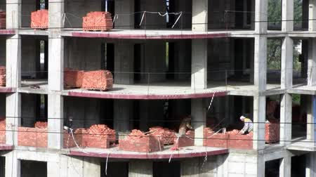yatarken : Time lapse Bricklaying work Stok Video