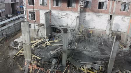 destroyed building : Collapse accident at a construction site