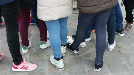 ponto de referência : PARIS, FRANCE - MARCH 22, 2016: children legs near Notre Dame de Paris Cathedral, France. Zero point in front of Notre Dame Cathedral. Tradition tourists stepped on foot Vídeos